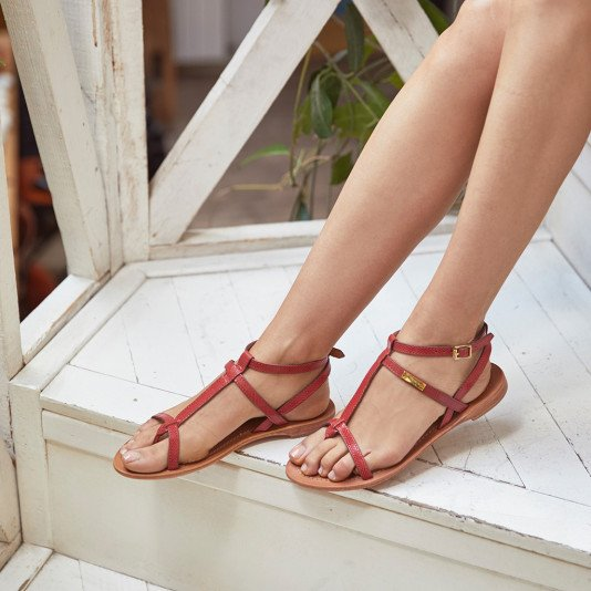 In between leather sandal Hilan red | Les Tropeziennes