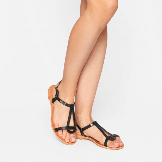 Leather sandal Hamess black | Les Tropeziennes