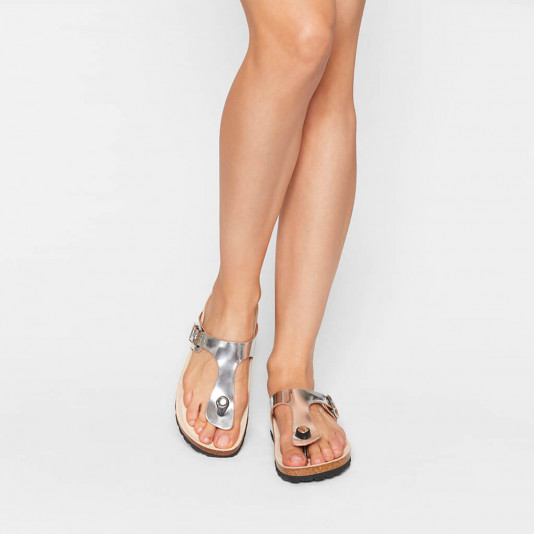 In between finger mule Paola metallic silver | Les Tropeziennes