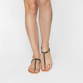 Leather in between finger sandal Billy iridescent black | Les Tropeziennes