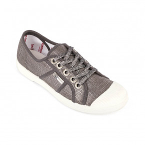 Shinny canvas sneakers Chiarina pewter | Les Tropeziennes
