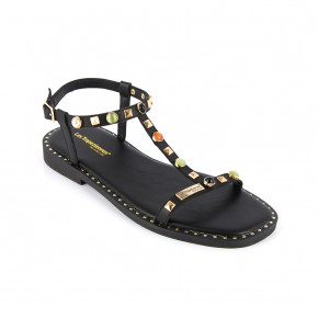 Girl's sandal with studded straps Clelia black | Les Tropeziennes