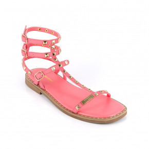Sandal with studded straps Coralie pink | Les Tropeziennes