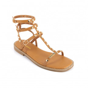 Girl's sandal with studded straps Coralie camel | Les Tropeziennes