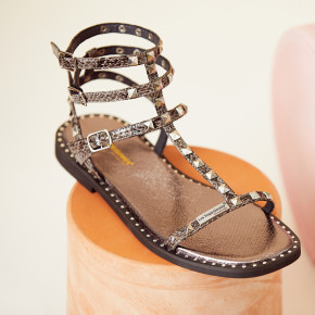 Sandal with studded straps Corol grey   Les Tropeziennes