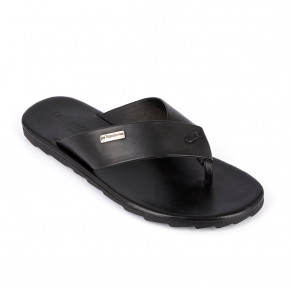 Men in between finger leather sandal Daffy black | Les Tropeziennes