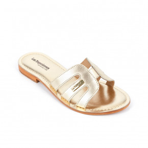 Leather mule Damia gold | Les Tropeziennes