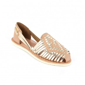 Braided leather moccasin Elodie honey & gold | Les Tropeziennes