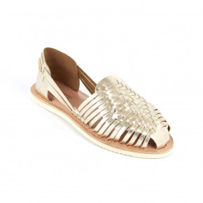 Braided leather moccasin Elodie gold | Les Tropeziennes