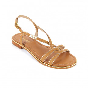 Sandal with crossed straps and gold piping Halia honey | Les Tropeziennes