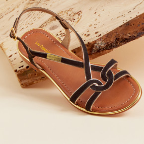 Sandal with crossed straps and gold piping Halia black | Les Tropeziennes