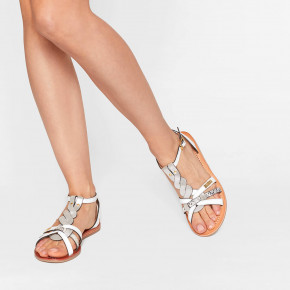 Mix leather sandal Hams white multico | Les Tropeziennes