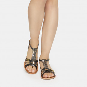 Mix leather sandal Hams black multico | Les Tropeziennes