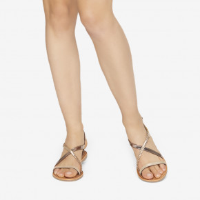 Leather sandal Hanano gold multico | Les Tropeziennes