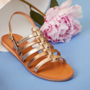 Iconic sandal with multiple straps Havapo gold lezard | Les Tropeziennes
