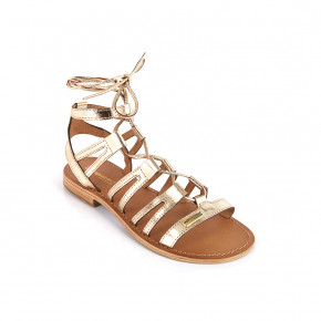 Sandal with over ankle straps Hercule gold | Les Tropeziennes