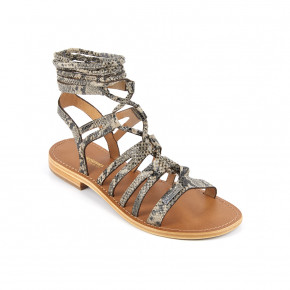 Sandal with over ankle straps Hercule beige snake | Les Tropeziennes