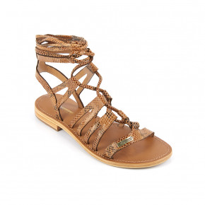Sandal with over ankle straps Hercule camel snake | Les Tropeziennes