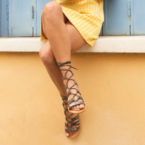 Sandal with over ankle straps Hercule black snake | Les Tropeziennes