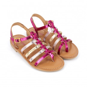 Girl leather spartiate Hirson pink   Les Tropeziennes