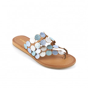 Mule with metallic thong Horond light blue multico | Les Tropeziennes