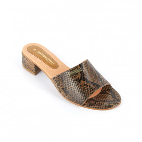Mule with heels Izelda taupe snake | Les Tropeziennes