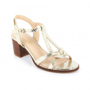 Heeled sandals with teardrop straps Lila gold | Les Tropeziennes
