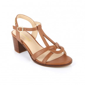 Heeled sandals with teardrop straps Lila camel | Les Tropeziennes