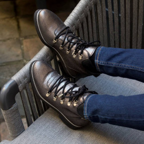 Leather lace-up boots Moony silver   Les Tropeziennes