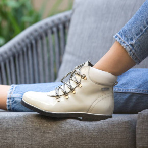 Leather lace-up boots Moony white patent   Les Tropeziennes