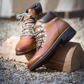 Leather lace-up boots Moony camel   Les Tropeziennes