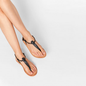 In between leather sandal Narvil black | Les Tropeziennes