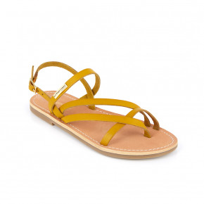 Sandal with crossed straps Orus yellow | Les Tropeziennes