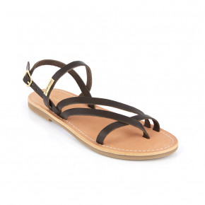Sandal with crossed straps Orus brown | Les Tropeziennes