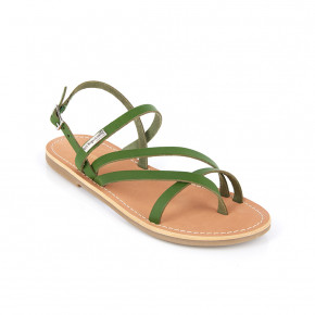 Sandal with crossed straps Orus green | Les Tropeziennes