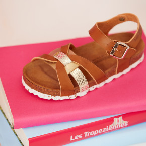 Thick-soled sandal Zappa camel & gold | Les Tropeziennes