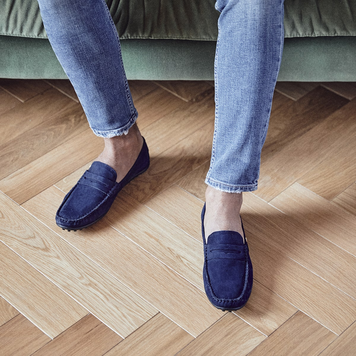 Men leather mocassin Ralph navy | Les Tropeziennes