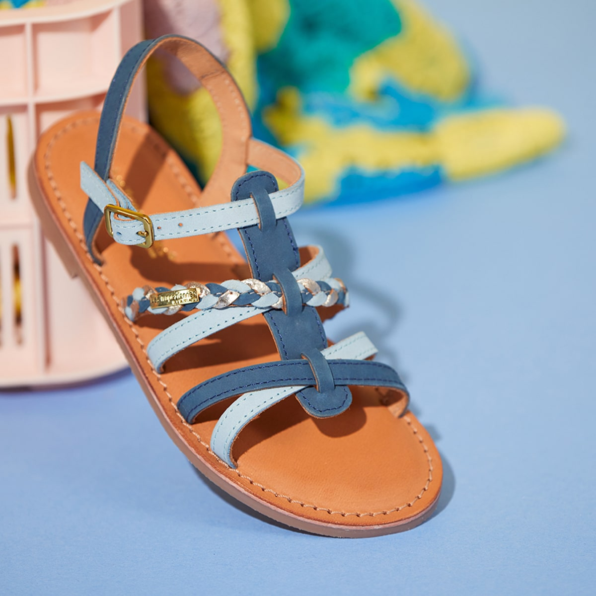 Girl's strappy sandal Monga blue multico | Les Tropeziennes