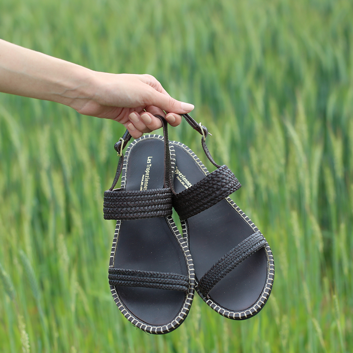 Braided leather sandal Oriano brown | Les Tropeziennes