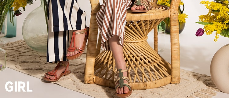 Girl's strappy sandal Monga conifer green multico | Les Tropeziennes